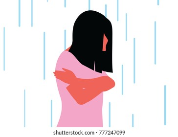 Sad girl caught in the rain