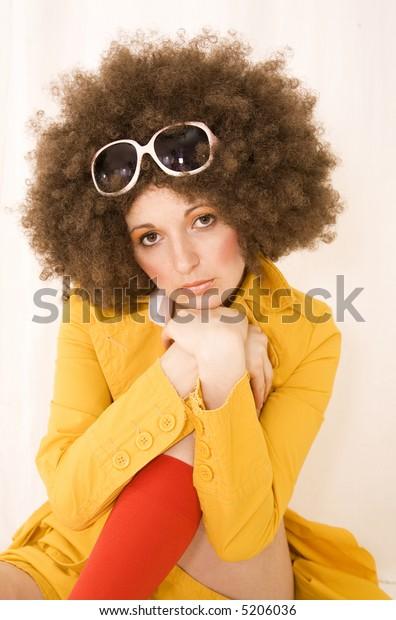 Sad girl with glasses.