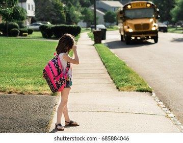 Sad girl on first day of school