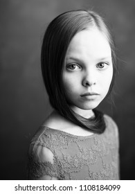 sad girl portrait black and white photo