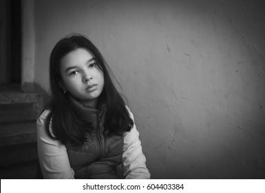 Sad girl portrait black and white