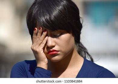 Sad Hispanic Female Woman