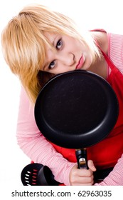 sad housewife with pan isolated on white background