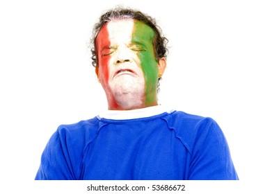 Sad Italian sport fan crying so much .