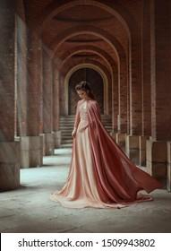 Sad lady elf vintage retro royal nude pink powdery color dress cape cloak train flies wind clothes costume. magical Rays sun hope pour woman through columns. Long dark hair style with tiara. bride