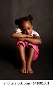 Sad little African girl