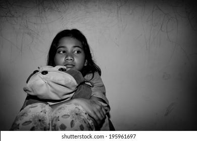 sad little asian girl