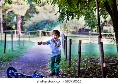 Sad little boy crying learn to ride a bicycle in the park. Toddler playing outdoors on a sunny summer day. Walk in the forest with  a bike