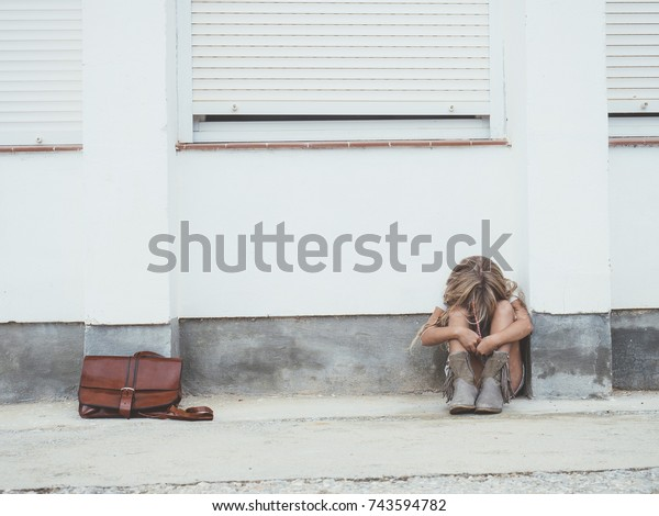 sad little girl crying