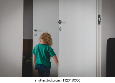 sad little girl going out and closing doors, child offence