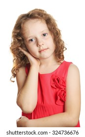Sad little girl holding her ear in pain, isolated in white background.