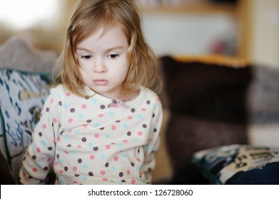 Sad little girl portrait