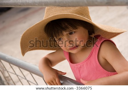 03528104a1fc Sad Little Girl Wearing Hat Pink Stock Photo (Edit Now) 3366075 ...