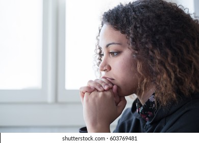 Sad and lonely black girl feeling depressed