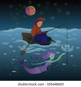 sad and lonely fisherman in a boat under the moon just before meeting the pretty mermaid