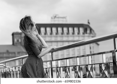 A sad and lonely girl in a big city. The problem of loneliness among women