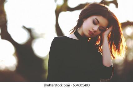 Sad Lonely Outdoor Woman's Portrait. Depression Concept