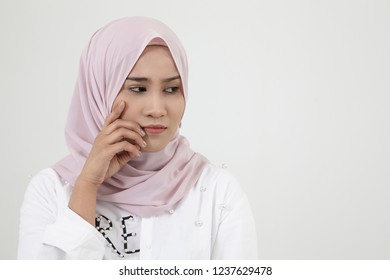 sad malay woman on the white background
