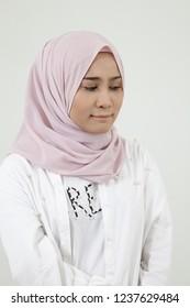 sad malay woman on the white background