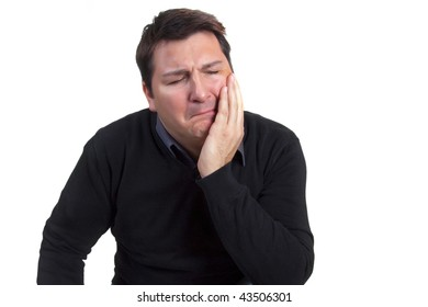 Sad man in agony (toothache)