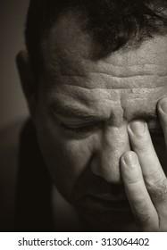Sad man. Black and white portrait