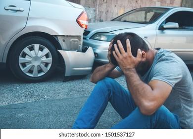 sad man and  car crash accident
