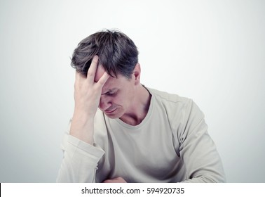The sad man, facepalm concept fear