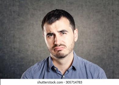 Sad man isolated
