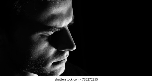 sad man profile, Dark guy  male in depression, black and white, serious look