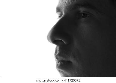 sad man silhouette on a white background