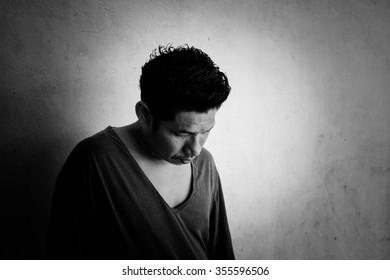 Sad man standing emotion black and white