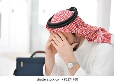 Sad middle eastern business man
