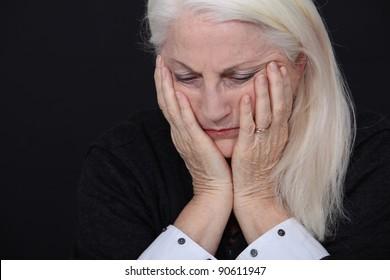 A sad old lady.