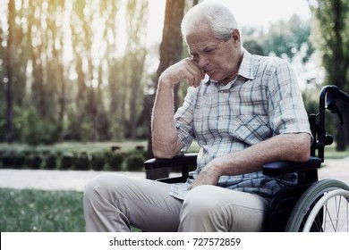 Sad old man in a wheelchair pensively sitting in summer park