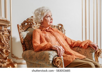 Sad old rich lady is completely alone