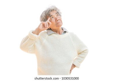 Sad old woman on white background,Anxiety problem concept