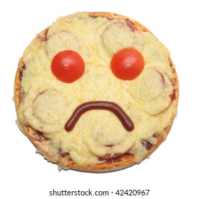 sad pizza isolated on white bacground