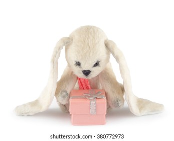 Sad rabbit wearing pink scarf with a gift box
