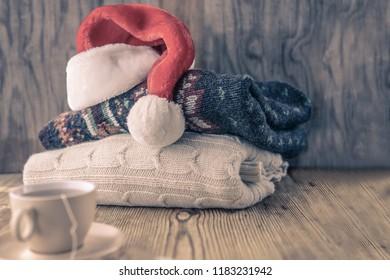 Sad Santa claus morning concept, toned image