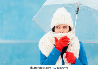 Sad Sick Winter Woman Holding Transparent Umbrella. Girl fighting illness feeling cold and under the weather