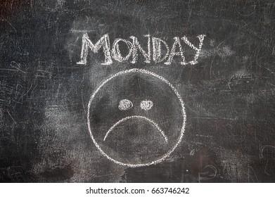 Sad smile on blackboard.