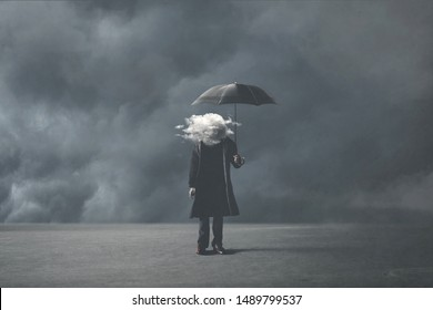 sad surreal man with cloud on his head