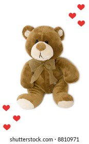 Sad teddy bear with red heart isolated on white