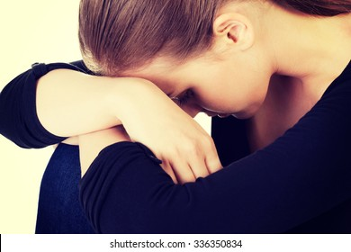 Sad teen girl heaving depression.
