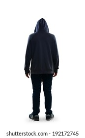 Sad teenage boy standing rear view, Isolated over white