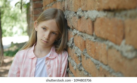 Sad Unhappy Child Looking in Camera, Bored Girl Portrait, Miserable Kid Face