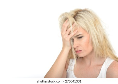 Sad Unhappy Young Woman in Her Late Twenties Looking Stressed and Worried Holding Her Face