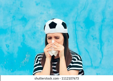 Sad Upset Crying Football Soccer Female Fan. Sports team supporter disappointed to tears