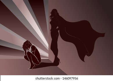 Sad woman crouched with Superhero's Shadow on wall