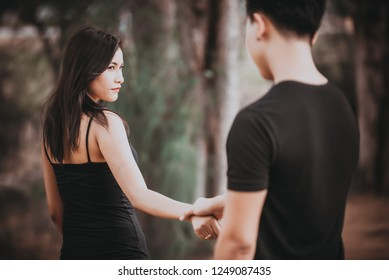 sad woman looking your boyfriend walking leave life her vintage style,heartbreak woman outdoor concept